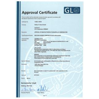 Germanischer Llyod Certificate 14 592 - 99 HH  Reiflexa Kompensator Typ 1A / 1S